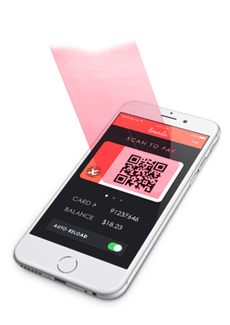 An iphone showing a digital gift card QR code being scanned by a barcode reader