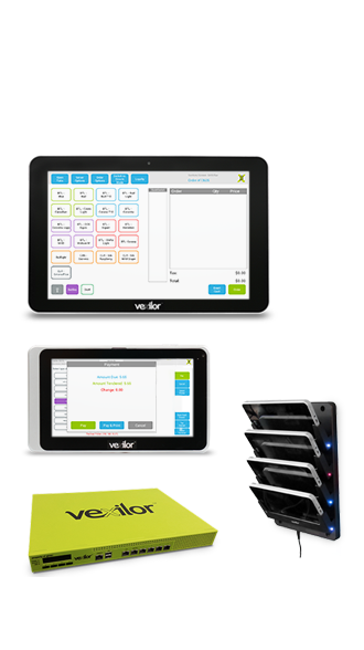 Vexilor 10-inch tablet, 7-inch tablet, Vhub and a charging dock with 4 7-inch tablets in it.